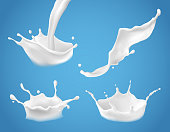 Set of 3D vector illustrations, milk splash and pouring, realistic natural dairy products, yogurt or cream, isolated on blue background. Print, template, design element