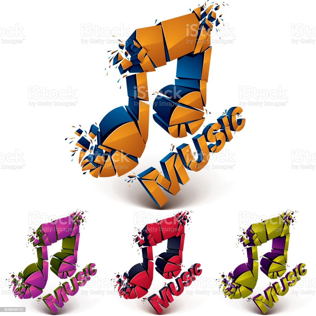 Set Of 3d Vector Shattered Musical Notes With Music Word Art Melody