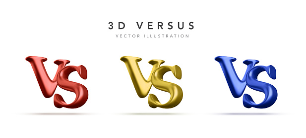 Set of 3d versus battle headline. Competitions between contestants, fighters or teams. Vector illustration