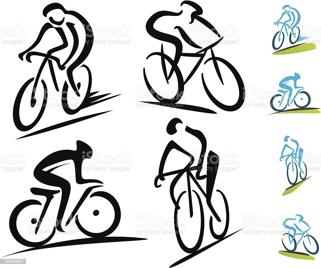 Set of 4 abstract cycling icons vector art illustration