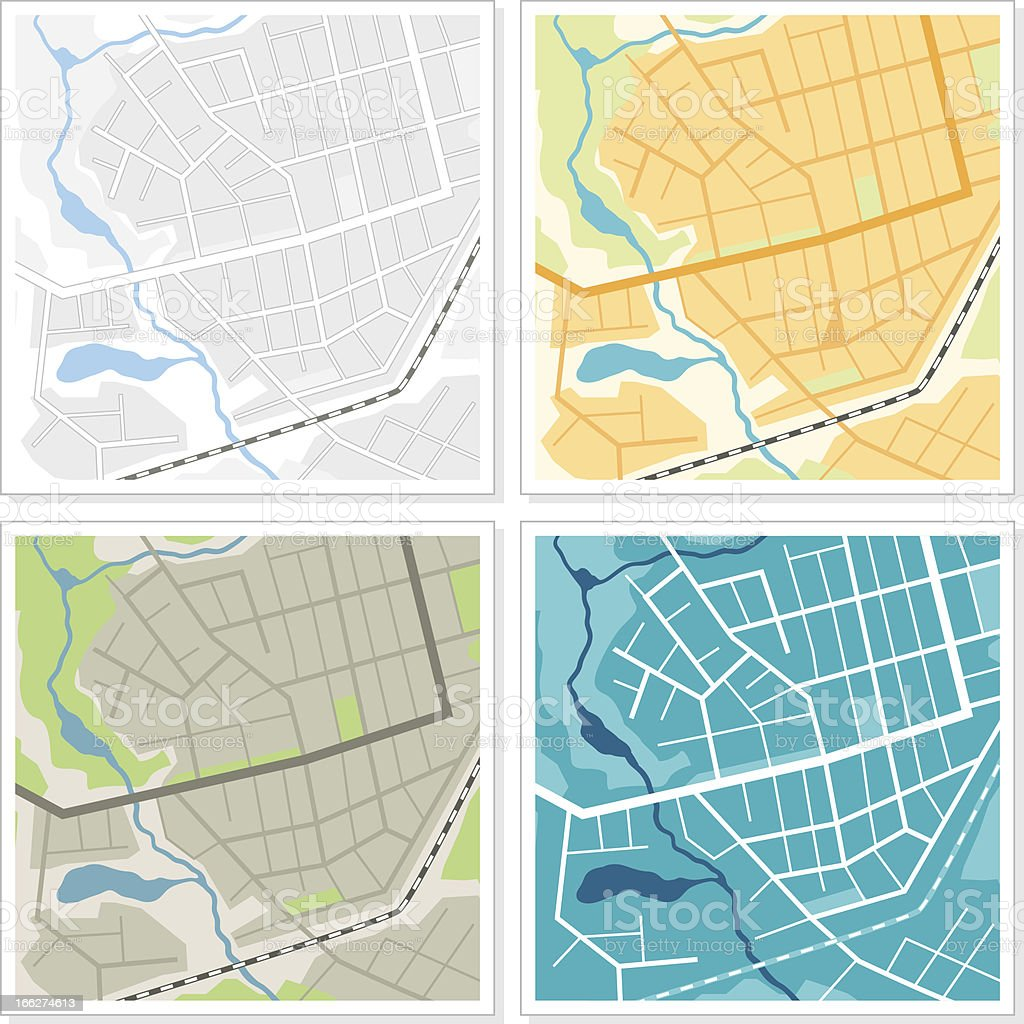Set of 4 abstract maps. royalty-free stock vector art