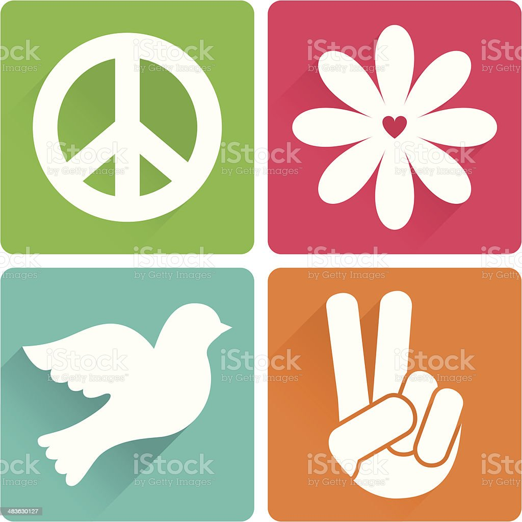 Set of 4 antiwar symbols in flat design vector art illustration