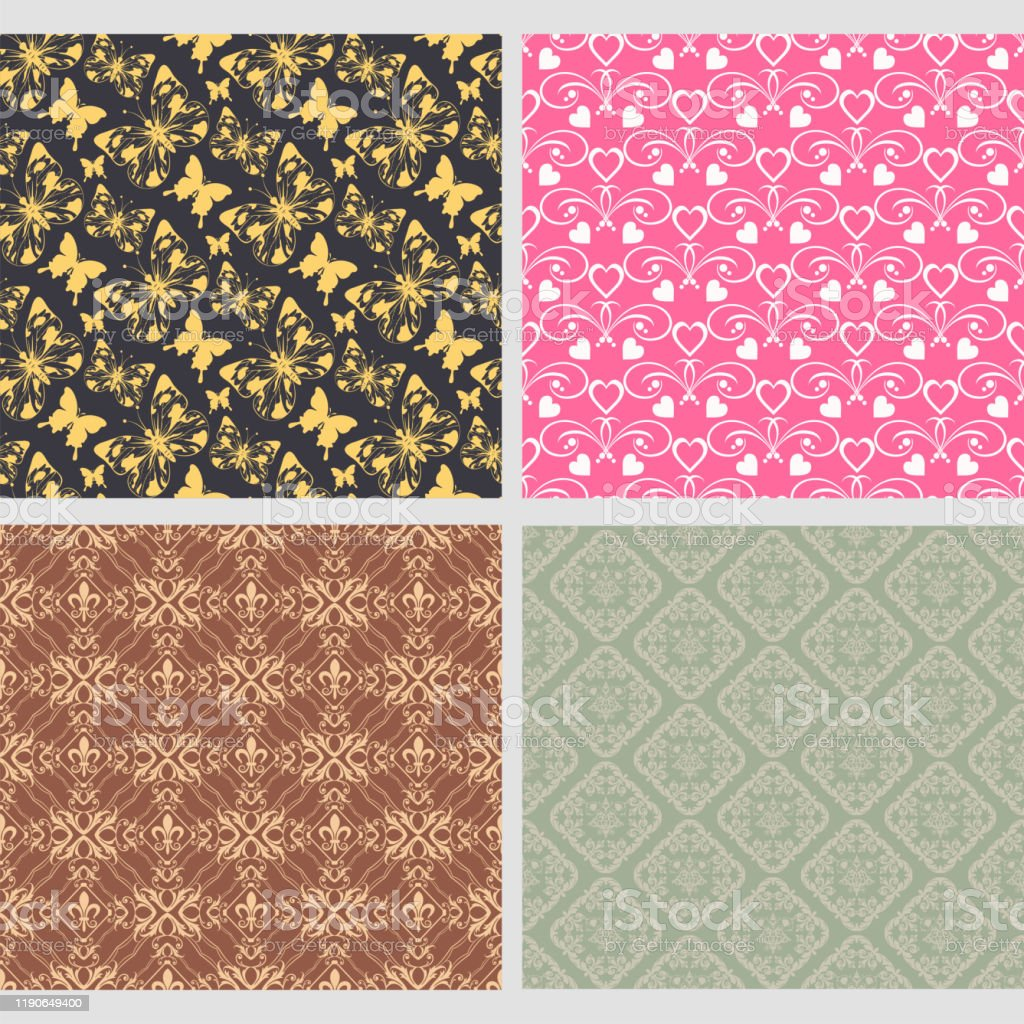 Set Of 4 Background Wallpapers In Vintage Style For Your Design