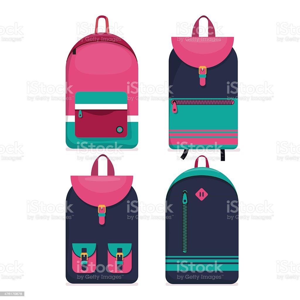Set of 4 backpacks icons. Flat style. vector art illustration