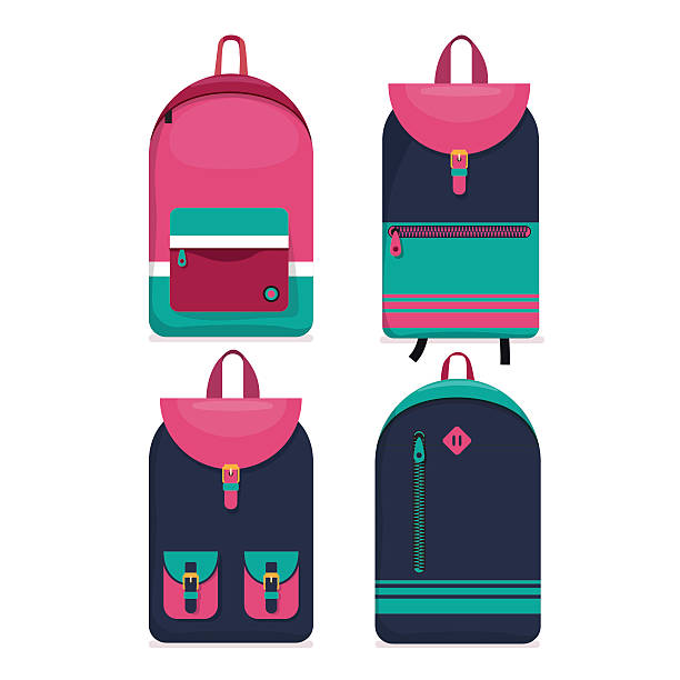 Set of 4 backpacks icons. Flat style. vector art illustration