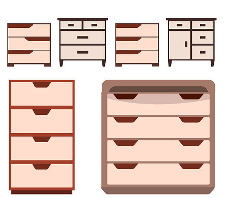 Set of 4 bedside tables and two dressers.  Collection of modern furniture for the bedroom, study, living room. Vector illustration in flat style.