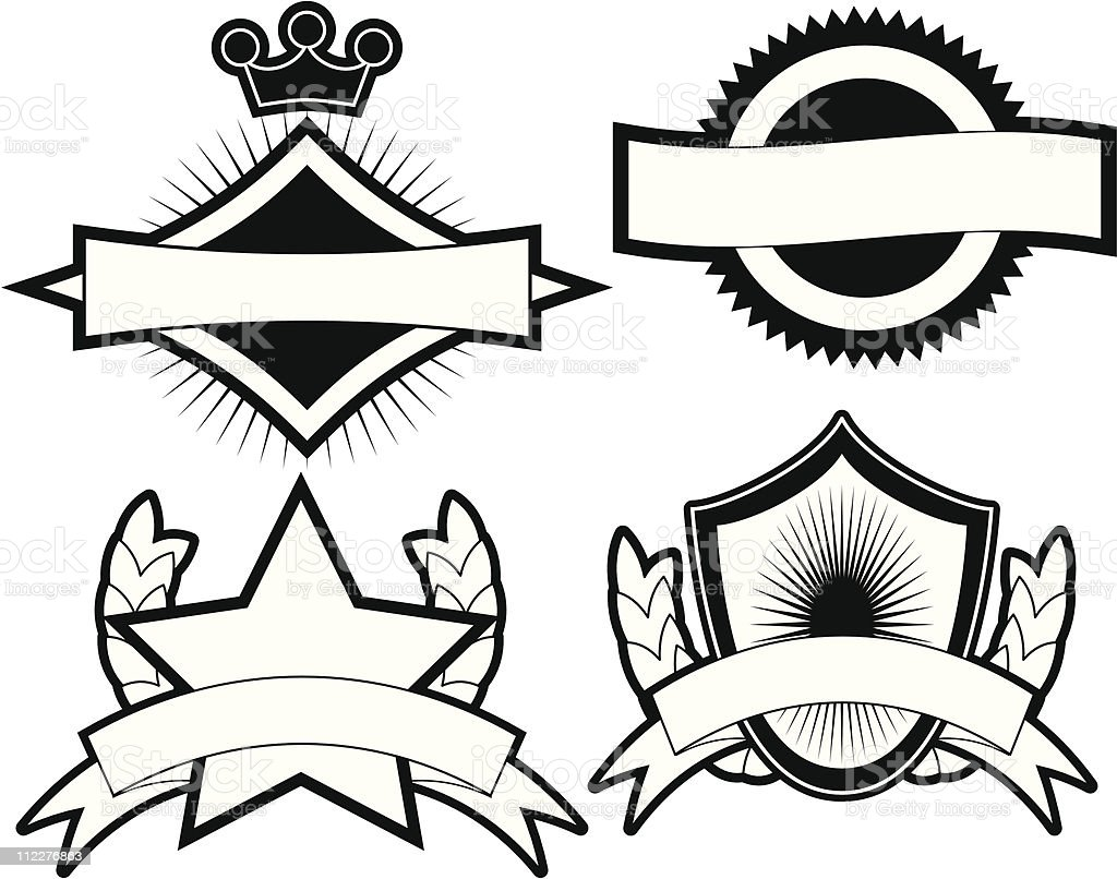 Set of 4 Black & White Emblems & Crests royalty-free set of 4 black white emblems crests stock vector art & more images of black and white