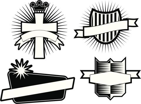 Set of 4 Black & White Emblems & Crests