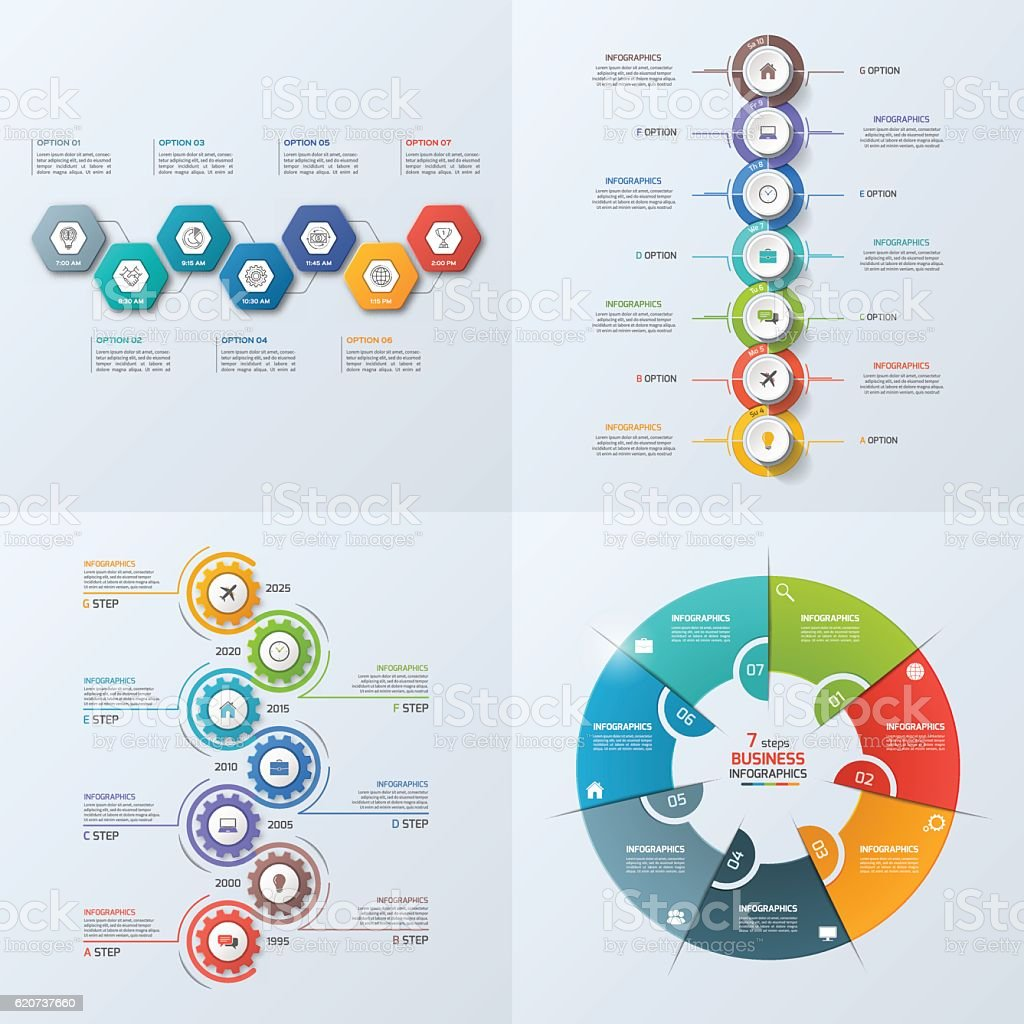 Set of 4 business infographic template with 7 steps vector art illustration