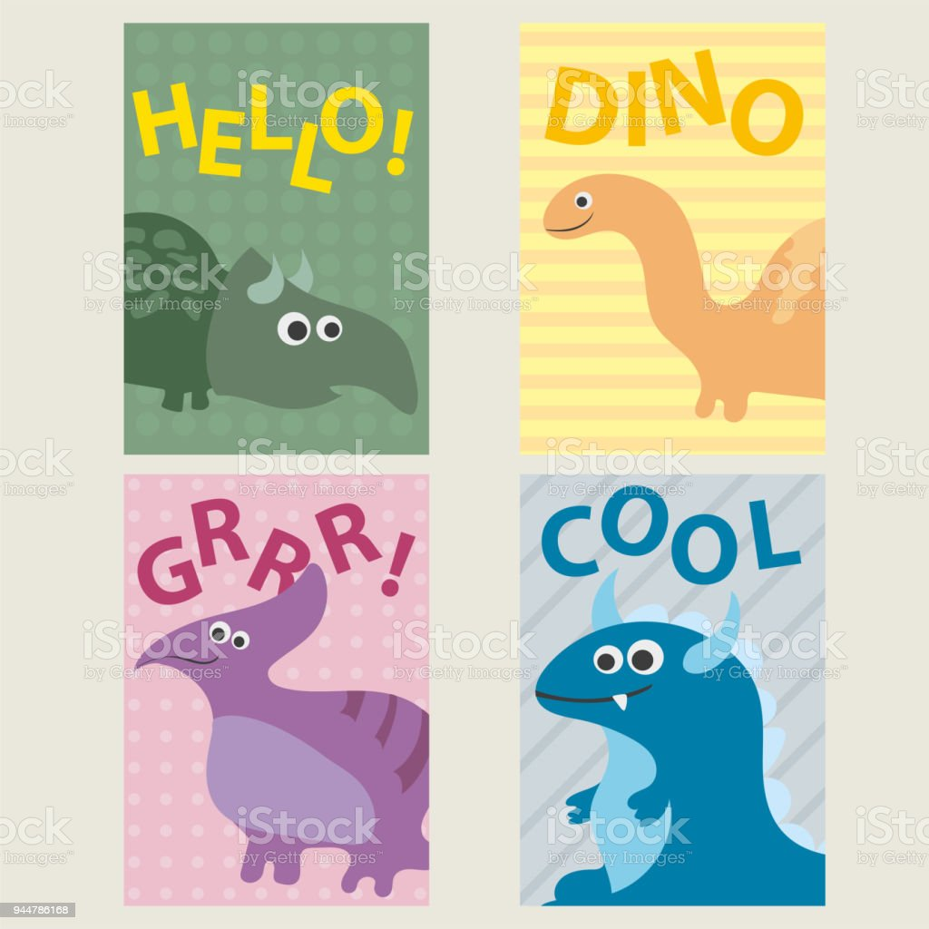 Set Of 4 Cards Templates With Dinosaurs For Birthday Invitations Scrapbooking Royalty Free