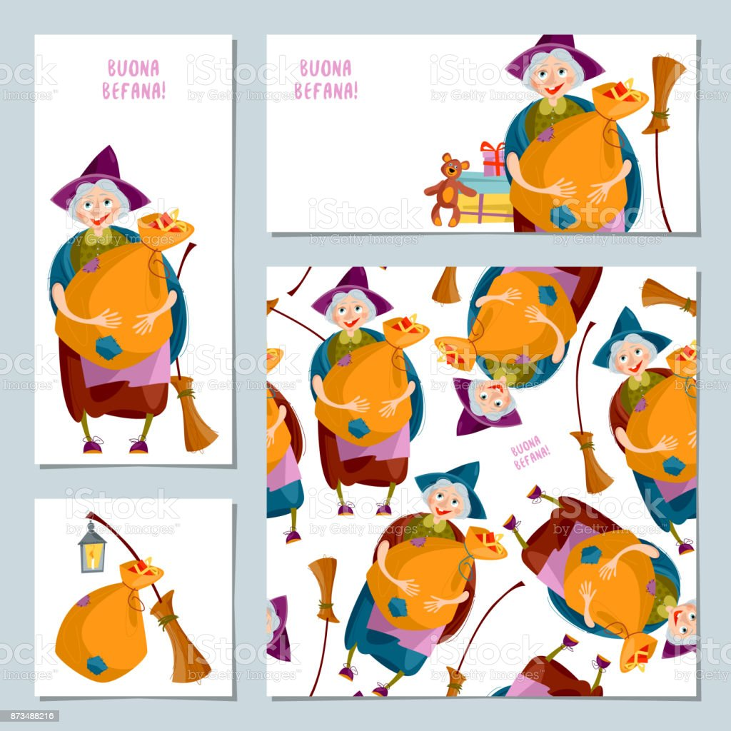 Set Of 4 Christmas Greeting Cards With Befana Italian Christmas