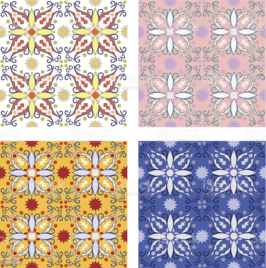 set of 4 colourful vector textures vector art illustration
