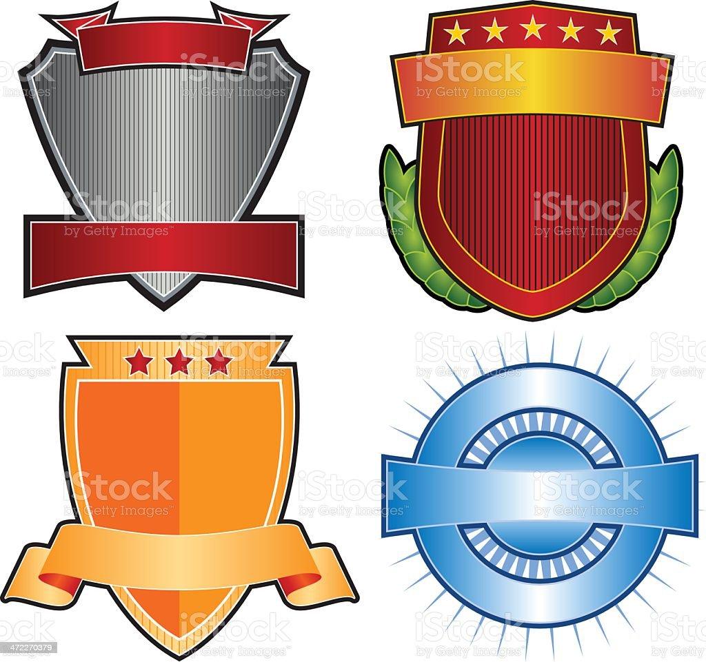 Set of 4 Crests & Emblems royalty-free stock vector art