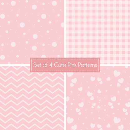 Set Of 4 Cute Baby Pink Patterns And Textures Backgrounds Stock