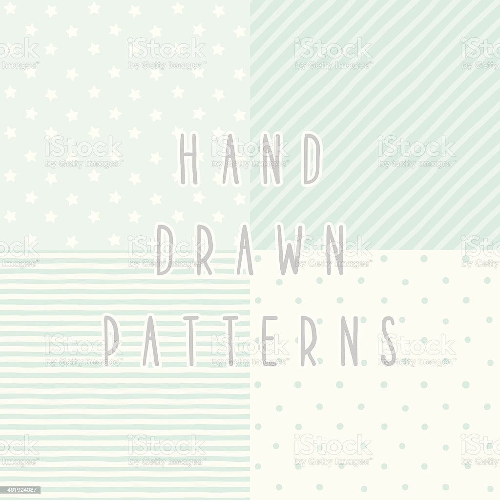 Set of 4 cute blue hand drawn patterns vector art illustration