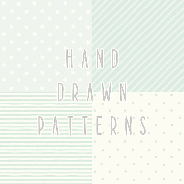 set of 4 cute blue hand drawn patterns - 美麗的人 幅插畫檔、美工圖案、卡通及圖標