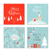 Set of 4 cute Christmas gift cards with animals and  lettering quote Merry Christmas, warm wishes, magic moments.  Hand drawn  illustration for postcard design, poster, t-shirt, banner, holliday invitation, scrapbook. Perfect vector.