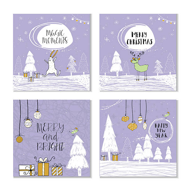 Set of 4 cute Christmas gift cards with quote - Illustration vectorielle