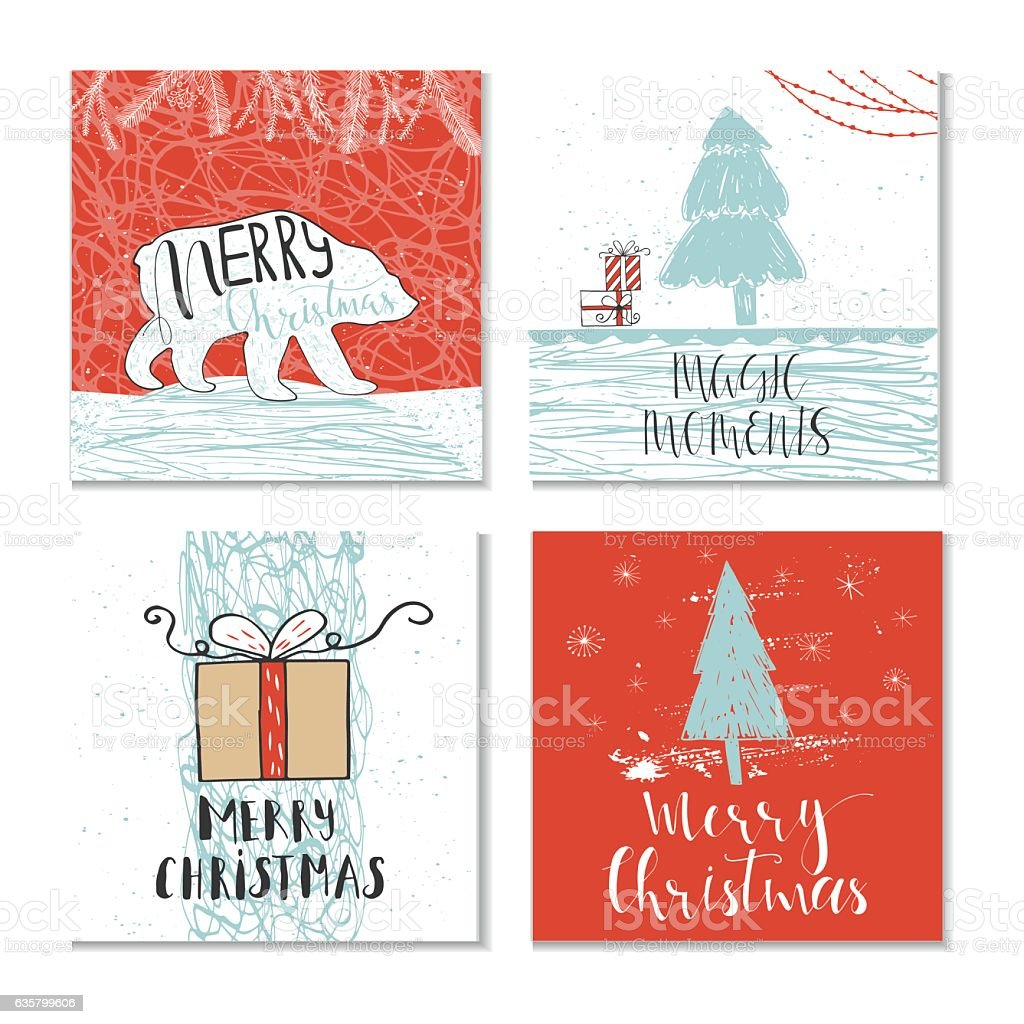 Set Of 4 Cute Christmas Gift Cards With Quotes Stock ...