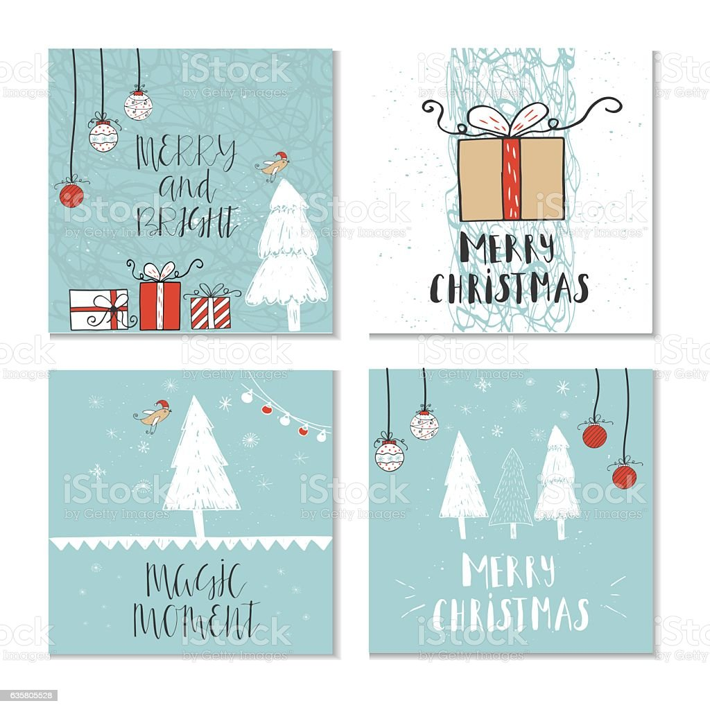 Quotes About Christmas Gifts: Set Of 4 Cute Christmas Gift Cards With Quotes Stock
