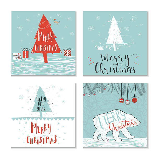 Set of 4 cute Christmas gift cards with quotes - Illustration vectorielle