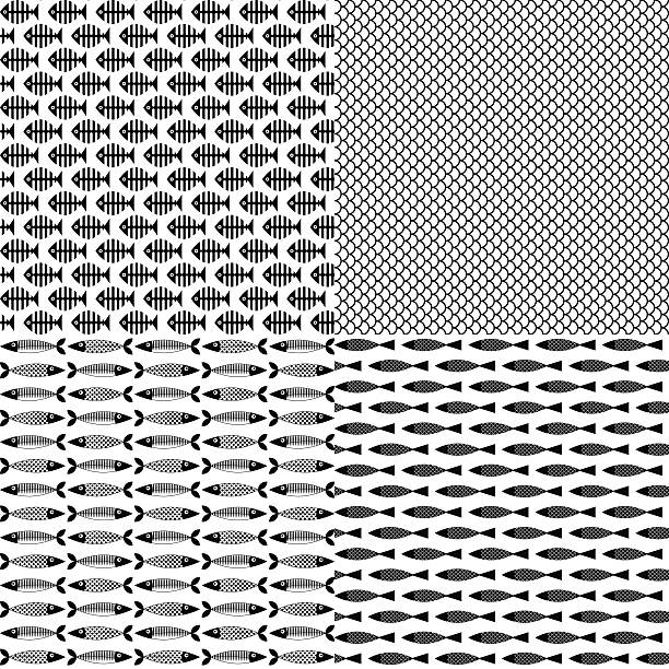 set of 4 fish themed patterns. black-and-white - fish skeleton stock illustrations, clip art, cartoons, & icons