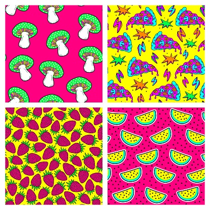 Set of 4 food seamless patterns. Pop art style backgrounds: ripe strawberries, watermelons, pizza slices, mushrooms. Vector wallpapers.