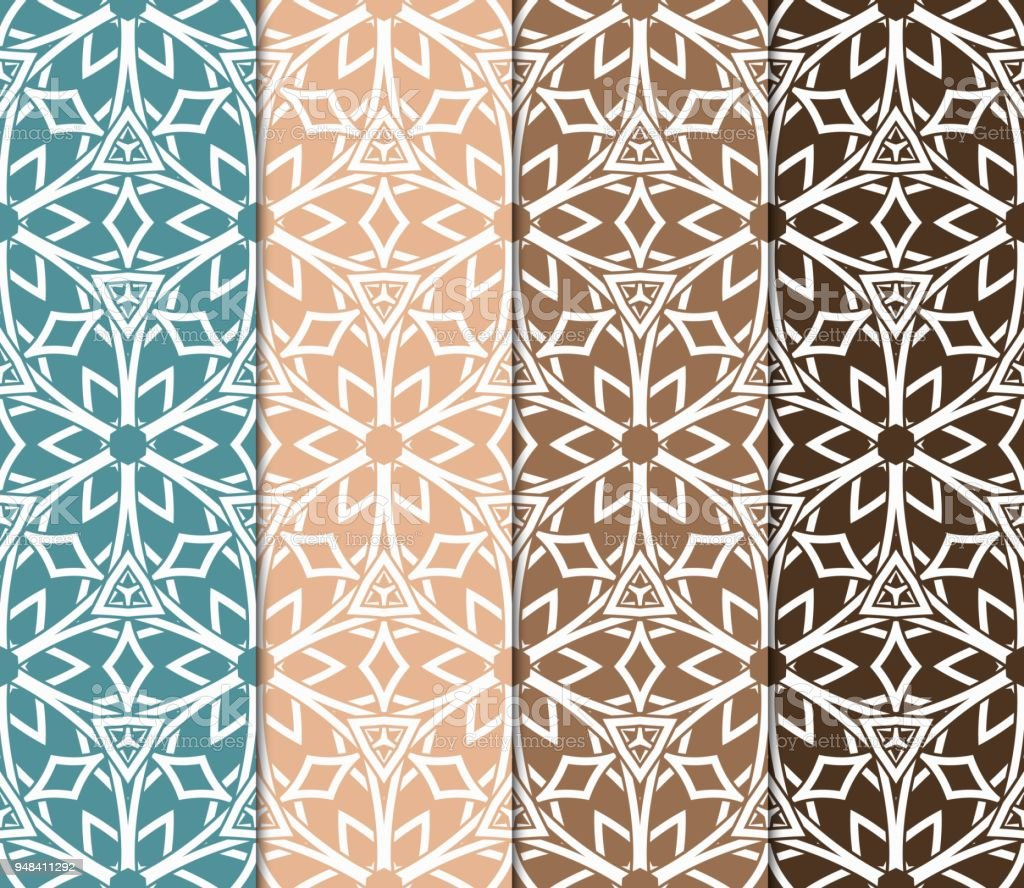 set of 4 geometric patterns in arabian style seamless monochrome