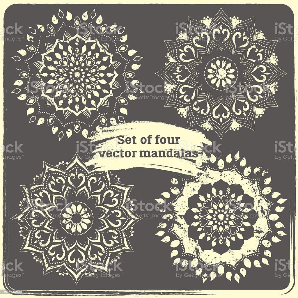 Set of 4 hand drawn mandalas. - Векторная графика Ottoman Empire роялти-фри