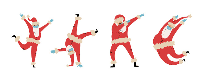 Set of 4 happy dancing Santa Claus in medical face mask and latex gloves in various funny poses, like dabbing, jumping pas, break dance. Hand-drawn vector isolated illustration.