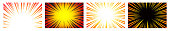 istock Set of 4 Hyper Speed Warp Sun Rays or Explosions. Boom for Comic Books. Radial Background. Vector. 1340028412
