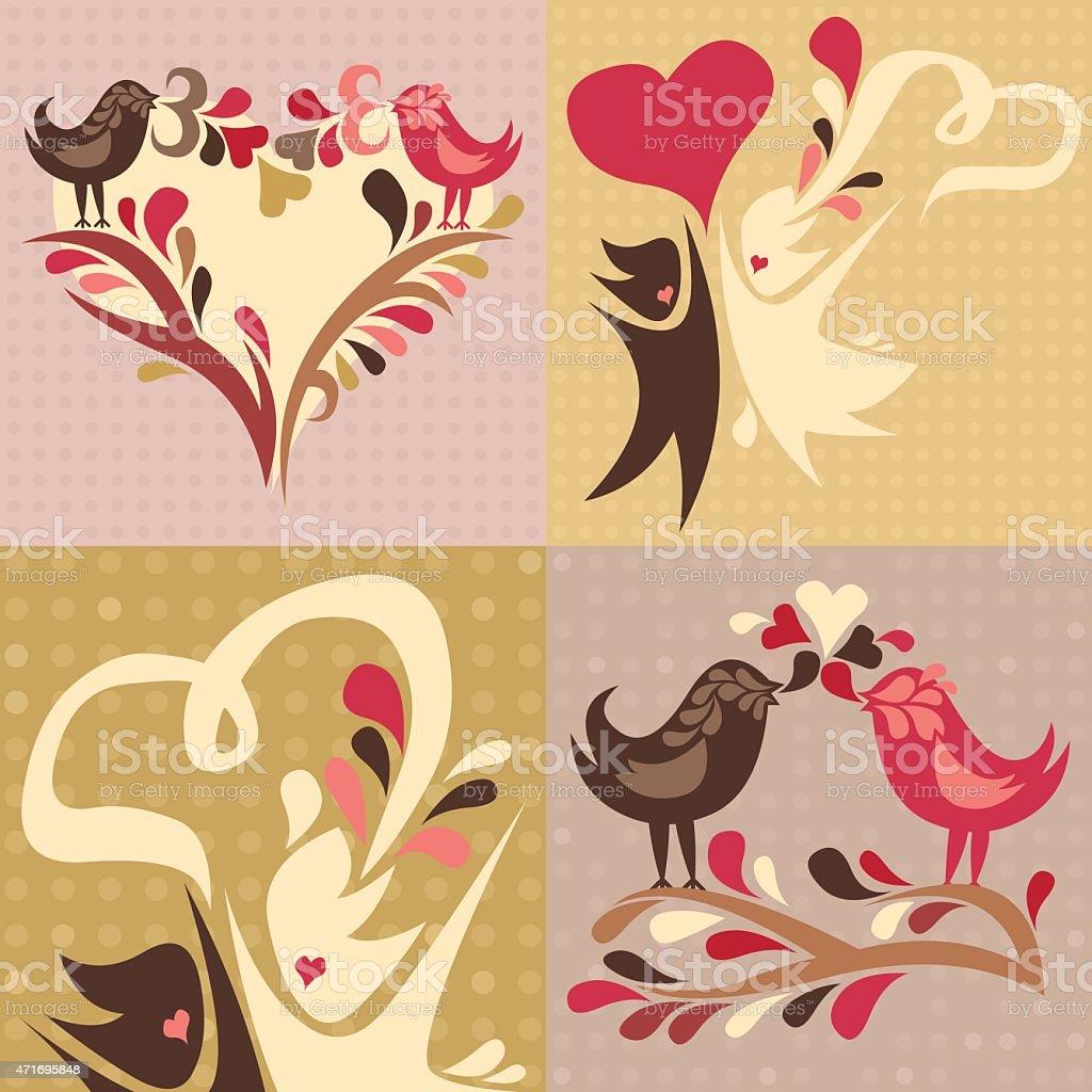 set of 4 love themed illustrations vector art illustration