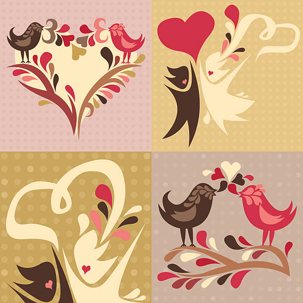 set of 4 love themed illustrations vector art illustration