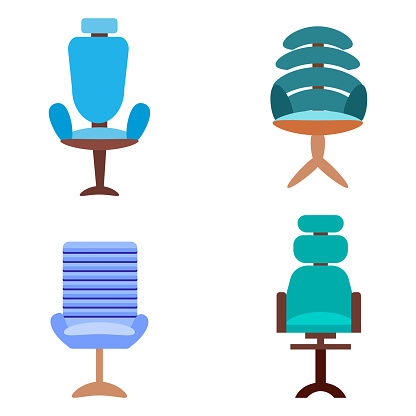 set of  4 modern office chairs and chairs isolated on a white background