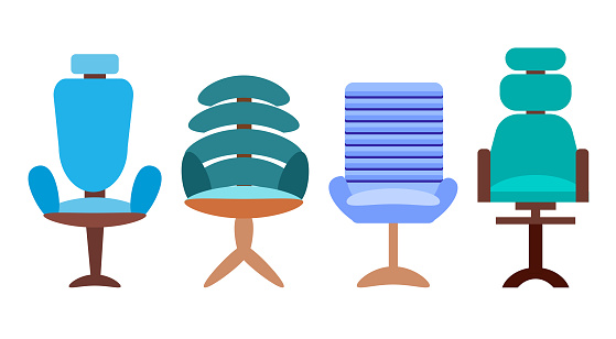 A set of  4 modern office chairs and chairs isolated on a white background. Vector illustration in flat style. Collection of furniture for office