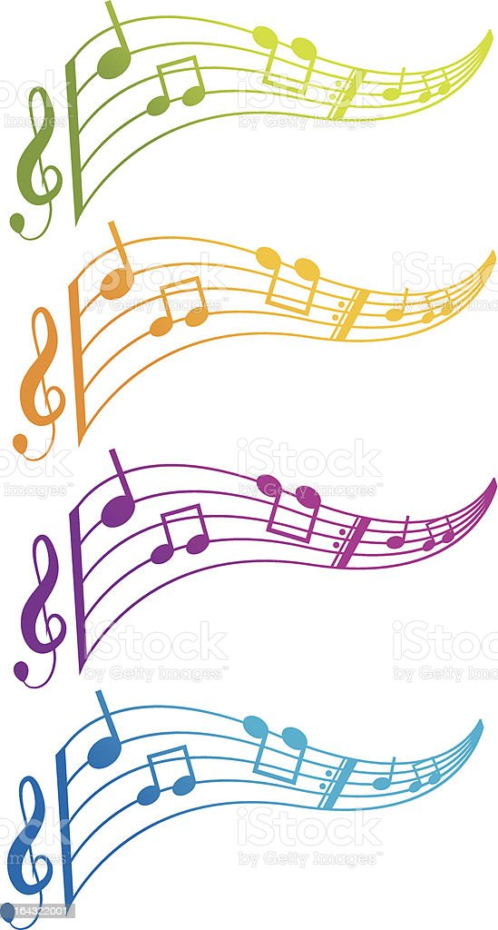 set of 4 music sheets and notes royalty-free stock vector art