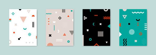satz von 4 plakat mit geometrischen bauhaus formen. retro-abstrakt. vektor vorlage für abdeckungen, gutschein, poster, flyer und banner. - bauhaus stock-grafiken, -clipart, -cartoons und -symbole