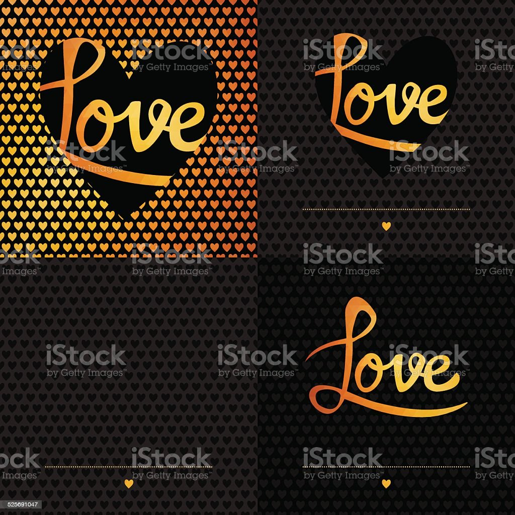 Set of 4 Posters. Romantic greeting card with typography element vector art illustration