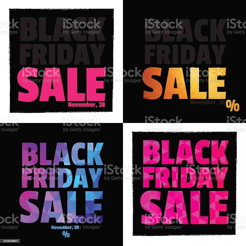 Set of 4 Posters. Typography. Black Friday. Sale. vector art illustration