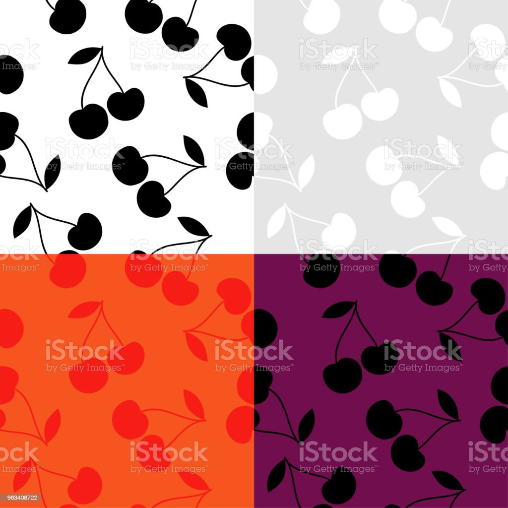 Set of 4 seamless backgrounds with cherries. Cherry is black and white and colored. Summer garden. Cherry jam. Vector illustration. Textile rapport. - Grafika wektorowa royalty-free (Bez ludzi)