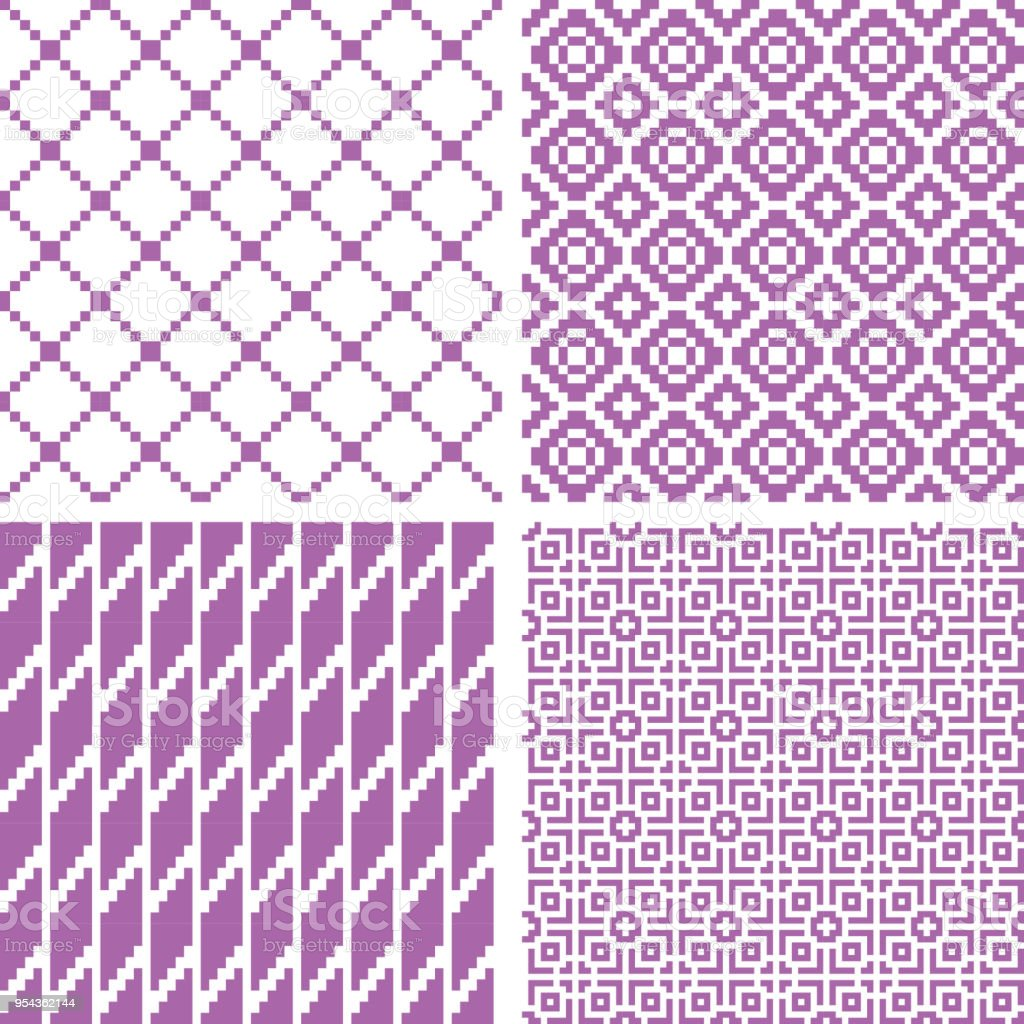e860fd5db0 Internet, Material, Textile, USA, Backgrounds. Set of 4 seamless geometric  patterns, violet color.