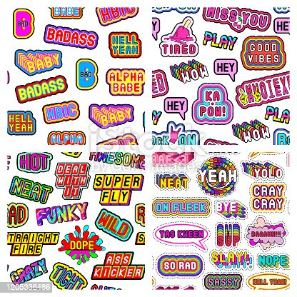 Set of 4 seamless patterns with modern slang phrases, words. Quirky cartoon comic style of 80-90s. White background. Vector wallpapers.