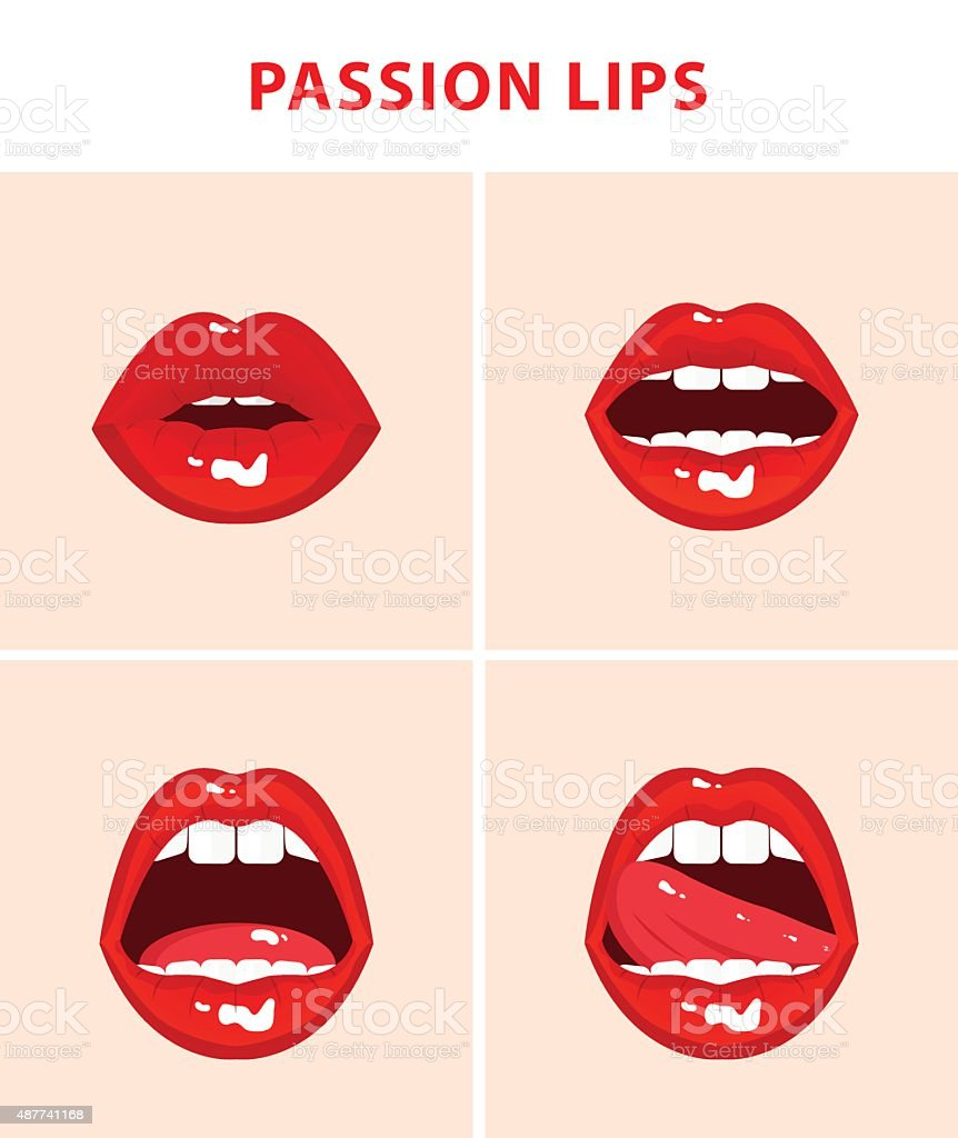 Set of 4 sexy open mouths, red erotic seductive lips vector art illustration