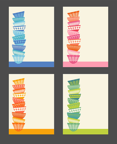 Set of 4 templates with stacked colorful kitchen bowls.