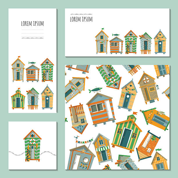 Set of 4 universal cards with beach huts. Template. vector art illustration
