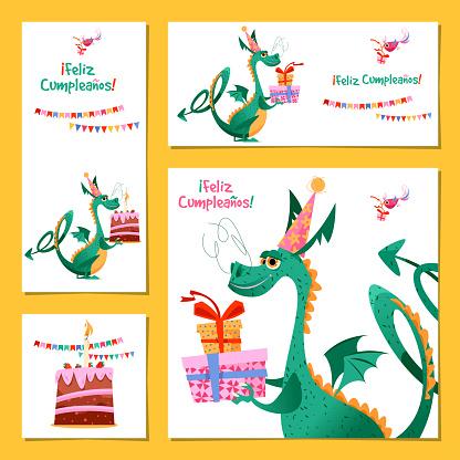 Set of 4 universal cards with dragon. Template. Feliz Cumpleaños! (Happy birthday!) Children's party, congratulations.