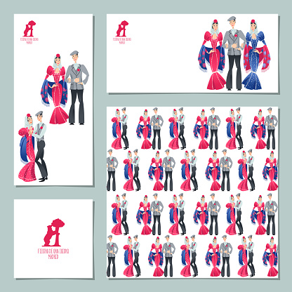 """Set of 4 universal cards with festival of """"San Isidro"""" (Fiestas de San Isidro), patron of Madrid. Man and woman in traditional clothes."""