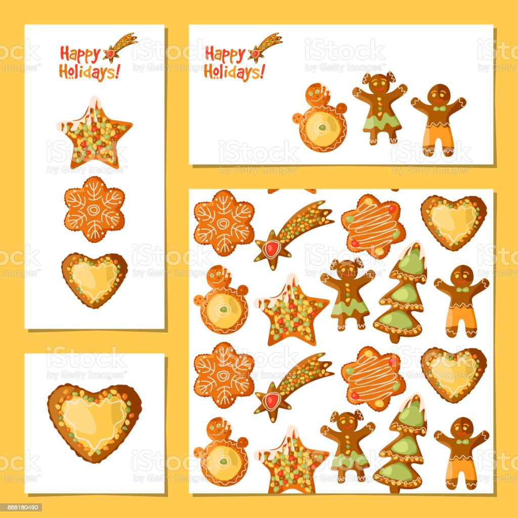 Set Of 4 Universal Cards With Festive Gingerbread Cookies Christmas
