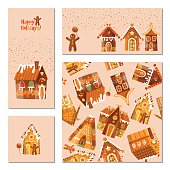 Set of 4 universal cards with festive gingerbread houses.Template.