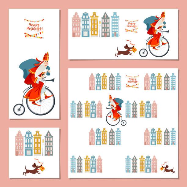 stockillustraties, clipart, cartoons en iconen met reeks van 4 universele kaarten met de kerstman (sinterklaas) op een uitstekende fiets. kerstmis in nederland. - cadeau sinterklaas